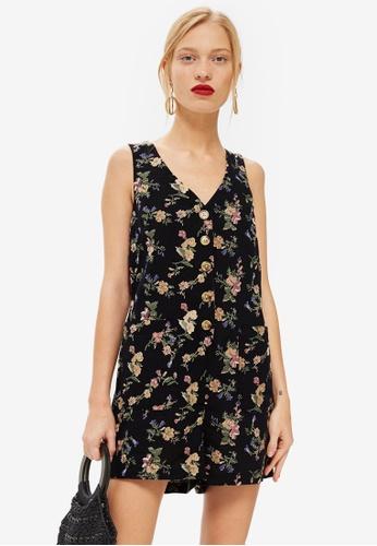TOPSHOP black Floral Linen Pinafore Romper 990DDAA6D7825DGS_1