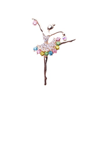 Glamorousky silver Fashion Temperament Plated Gold Ballet Girl Brooch with Cubic Zirconia BCFE7AC993B25AGS_1