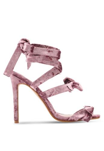 Public Desire pink Bedlam Bow Detail Wrap Around Heels PU378SH0SIPCMY_1