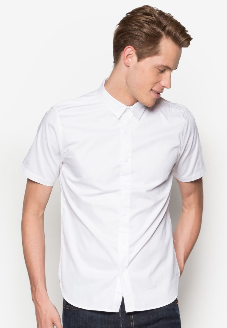 Textured Poplin Short Sleeve Shirt