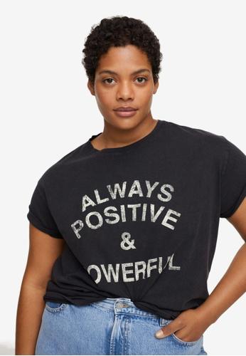 Violeta by MANGO black Plus Size Messages Cotton T-Shirt 2B80CAA07F0130GS_1