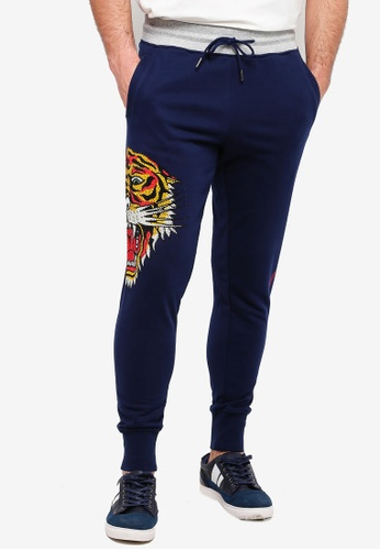 baf15fa2 Ed Hardy navy Ed Hardy Tiger Rhinestone Track Joggers with Font Detailing  58E74AA5567136GS_1