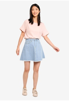 f78bf662725 11% OFF ZALORA BASICS Basic Boatneck Oversized Top S  19.90 NOW S  17.70  Sizes XS S M L XL