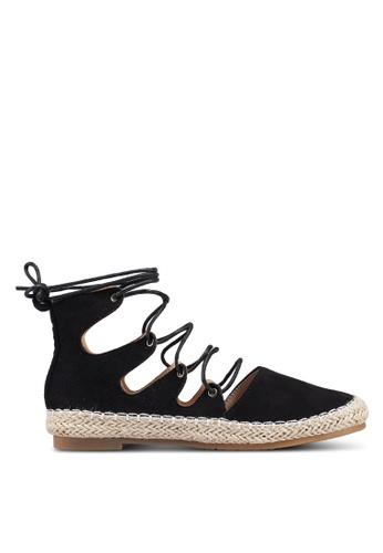 Berrybenka 黑色 麂皮綁帶休閒鞋 89362SH5C98E9AGS_1
