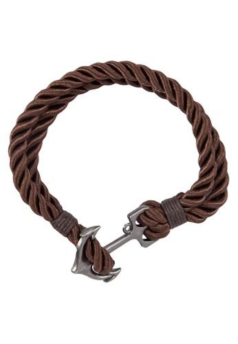 esprit outlet 旺角船錨扣雙層纏繞手繩, 飾品配件, 手環