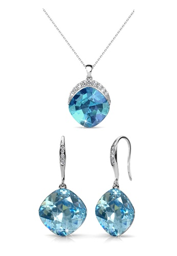 Her Jewellery blue and silver Swarovski® Crystals - Tiffy Set (Blue)(18K White Gold Plated) Her Jewellery HE581AC0R9X8MY_1