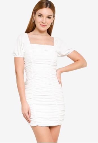 ZALORA BASICS white Puff Sleeve Ruched Mini Dress A0300AAFB793BCGS_1