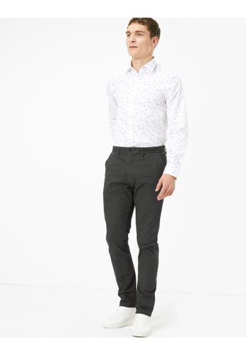 MARKS & SPENCER grey M&S Slim Fit Cotton Printed Stretch Chinos F55E9AA342811CGS_1