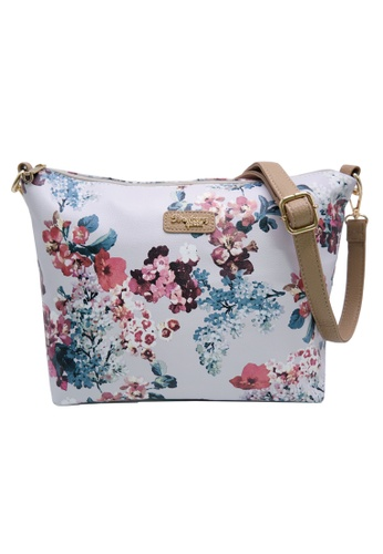 STRAWBERRY QUEEN grey and beige Strawberry Queen Flamingo Sling Bag (Floral E, Grey) C45D9AC19F7BD1GS_1