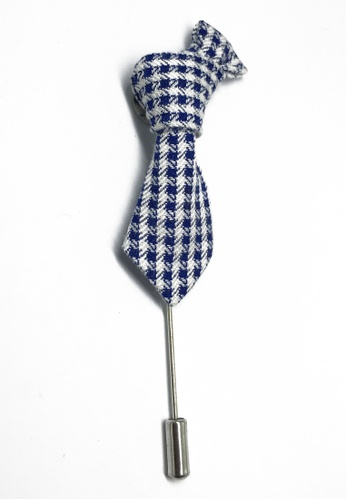 Splice Cufflinks Blue & White Checked Little Tie Lapel Pin SP744AC79KXKSG_1
