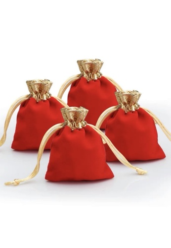 Ayra Home & Living red and gold Accessories Pouch Small Red Velvet Set of 4 80243HL437185AGS_1