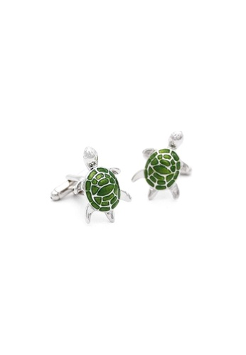 Red Stag And Hind green Red Stag And Hind Moss Green Turtle Cufflinks E096CACE83988EGS_1
