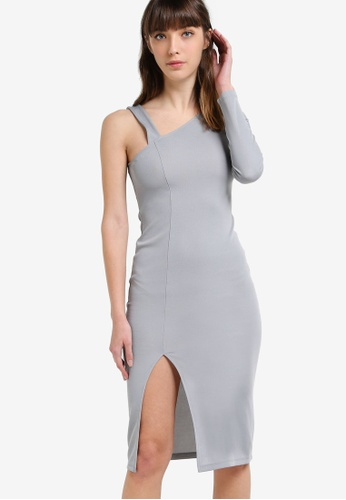 Miss Selfridge grey Grey One-Shoulder Midi Dress MI665AA52ZKTMY_1