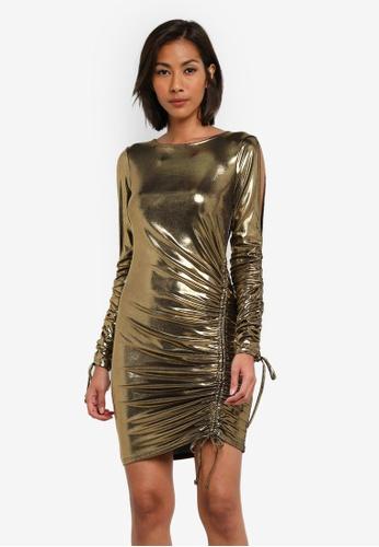 Miss Selfridge silver Metallic Rucched Dress MI665AA0SABRMY_1