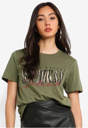 MISSGUIDED 綠色 豹紋T恤 BBFFDAA9B73F4AGS_1