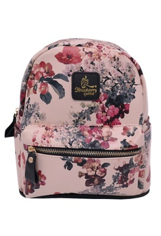 c80e0b4662 STRAWBERRY QUEEN black and beige Strawberry Queen Floral Backpack -  Boomerang (Floral E