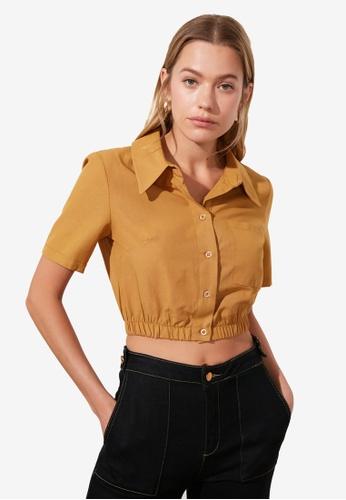 Trendyol brown Elastic Waist Crop Shirt 4DAFEAA68D0D0FGS_1