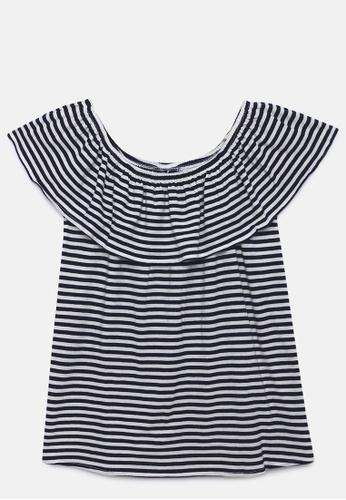 ZALZA black and white Liatris 100% Organic Cotton Knitted Girls Off-shoulder Top - Total Eclipse 12200KA5E96561GS_1