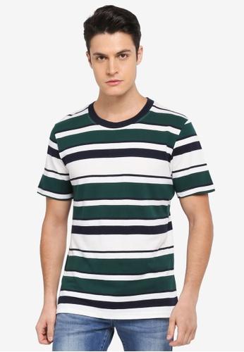 MANGO Man green Striped Cotton Pique T-Shirt 34CC5AA2C5F6DBGS_1