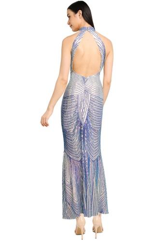 Goddiva blue High Collar Sequin Maxi Dress 7B66CAA01D767BGS_1