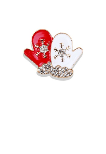 Glamorousky white Fashion and Simple Plated Gold Christmas Glove Brooch with Cubic Zirconia 420D3AC40888EBGS_1