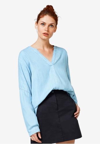 ESPRIT blue Woven Long Sleeve Blouse CBCDBAA38BB3F9GS_1