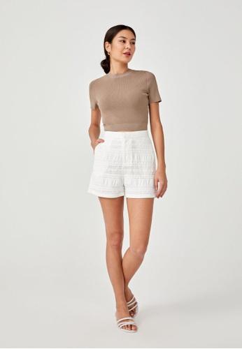 Love, Bonito white Julie Textured Shorts 64A04AAAFB2E0AGS_1