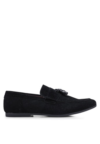 Burton Menswear London black Black Leather Look Tassel Loafers With Embossed Design 8431BSH399ABB1GS_1