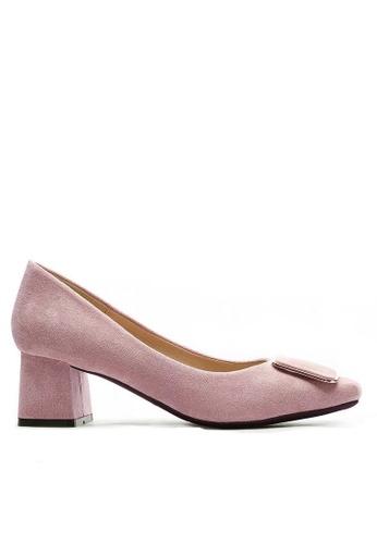 Twenty Eight Shoes 尖頭橢圓扣絨面高踭鞋1270-39 AA858SH01A2085GS_1