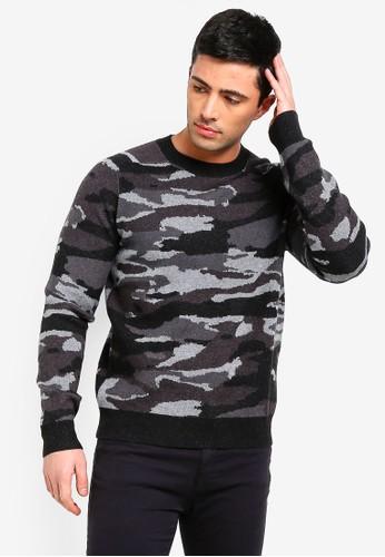 MANGO Man grey Camo-Print Sweater 7127DAA6489DD6GS_1