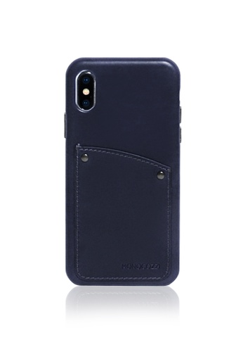 Monocozzi navy Exquisite - Vintage Leather Hard Shell Case for iPhone XS - Navy Blue 19880ACAA3490EGS_1