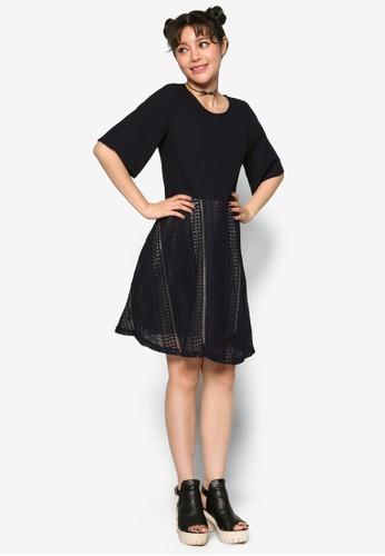 蕾絲鉤針拼接洋裝, 服飾,esprit分店 洋裝