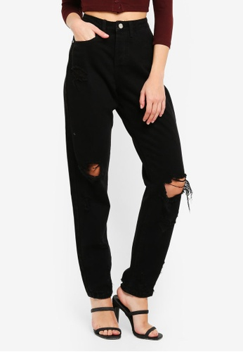 MISSGUIDED black Riot Busted Knee Mom Jeans 6074FAA3C1D7F2GS_1