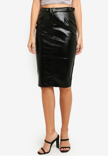 MISSGUIDED black Faux Leather Buckle Detail Midi Skirt 73729AACCB9911GS_1