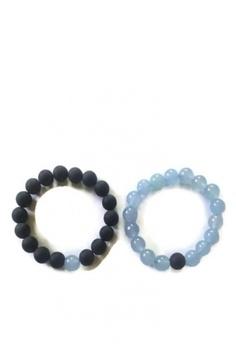 0fc136fddc1e1 Be Lucky Charms black and blue Feng Shui Couple Relationship Bracelets Onyx  Matte   Aquamarine Bracelets