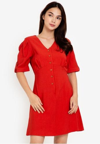 ZALORA BASICS 橘色 Puff Sleeve Mini Dress B7B18AA3A576A6GS_1