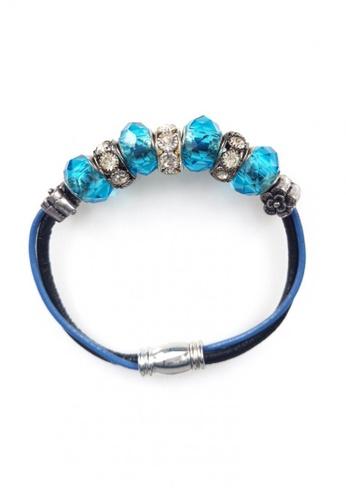 Her Jewellery blue Monroe Charm Leather Bracelet (Blue) 802CCAC141344FGS_1