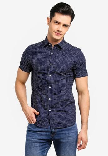 MANGO Man 藍色 修身圓點襯衫 13984AA42053BDGS_1