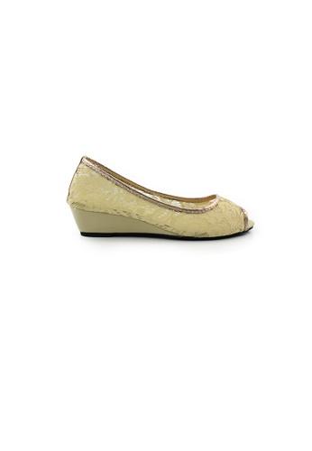 SHINE beige Peep Toe Lace Up Wedges SH554SH0HAB5SG_1