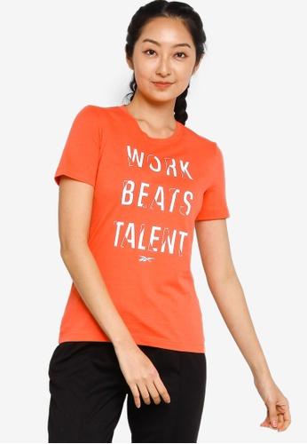 Reebok 橘色 Work Beats Talent 印花T恤 F963AAA8C2959DGS_1
