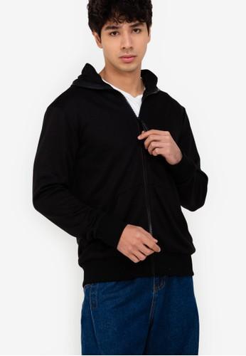 ZALORA BASICS black Zipper Hoodie Jacket 34D1AAA1766F29GS_1