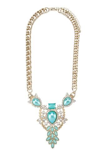珠寶鑲嵌粗項鍊, 飾品配zalora鞋件, 項鍊