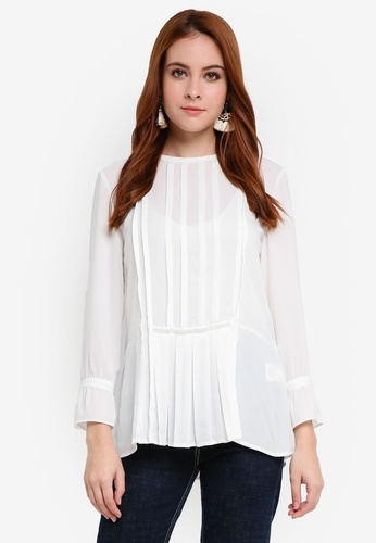 Zalia white Pleated Blouse D8176AAEA2612DGS_1