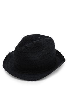 20ffaf944dd OVS black Openwork Floral Hat With Turn Up F3994AC6DC77A3GS 1