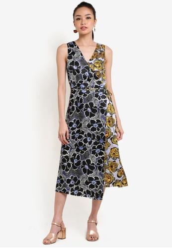 WAREHOUSE multi Mixed Woodblock Silk Dress WA653AA76UPRMY_1