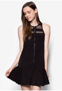 Zipper Mesh Fluted Hem Dress