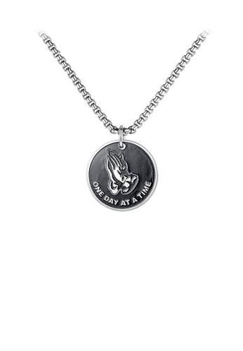 Glamorousky silver Fashion Personality Geometric Circle Prayer Hands 316L Stainless Steel Pendant with Necklace 2A807ACF83DBA7GS_1