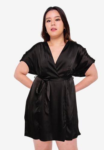 MISSGUIDED black Plus Kimono Sleeve Skater Mini Dress 5519CAAFE39DE5GS_1
