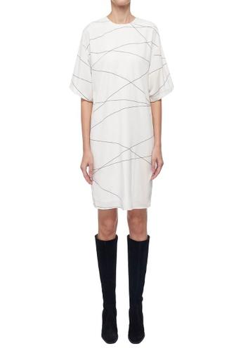 ck Calvin Klein 白色 輕薄印花連衣裙 AE037AA424FD6AGS_1
