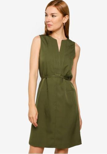 ZALORA WORK green Notch Neck Midi Dress 67394AA5909C58GS_1